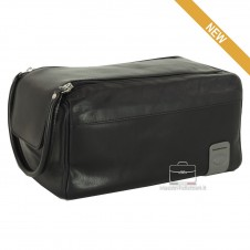 Necessarie carrier traveling , in Black leather - WILLIAM