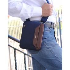 Borsello uomo piccolo in tessuto e pelle Blu/Marrone porta iPad-Mini