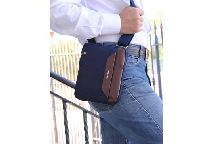 Men's shoulder bag small with iPad®Mini pocket in Blue/Brown