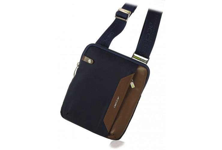 Kleine Herren-Umhängetasche mit iPad®Mini-Tasche aus Blau/Braun