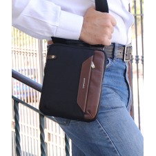 Borsello uomo piccolo in tessuto e pelle Nero/Marrone porta iPad-Mini