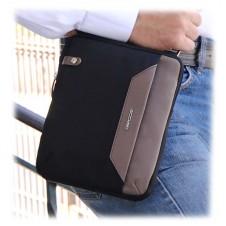 Borsello uomo piccolo in tessuto e pelle Nero/Taupe porta iPad-Mini