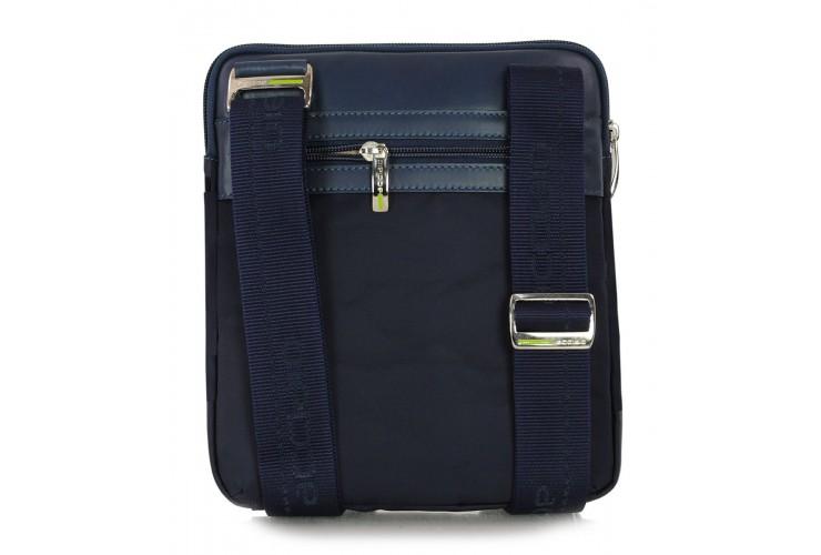 Borsello uomo in tessuto e pelle Blu porta iPad-Mini