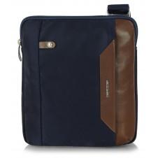 Borsello uomo in tessuto blu e pelle Marrone porta iPad-Mini