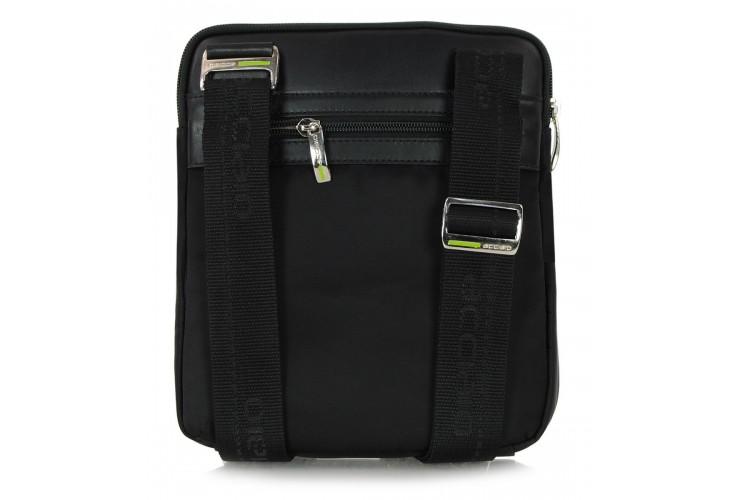 Borsello uomo in tessuto e pelle Nero/Marrone porta iPad-Mini