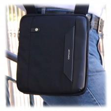 Borsello uomo in tessuto e pelle Nero porta iPad-Mini