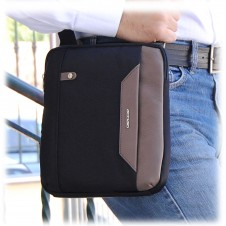 Men's shoulder bag small with iPad®Mini pocket in Black/Taupe