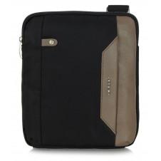 Borsello uomo in tessuto e pelle Nero/Taupe porta iPad-Mini