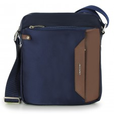 Crossbag Shoulder bag with wide hips 11'' Blue/Brown