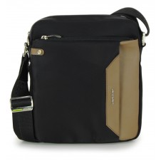 Crossbag Shoulder bag with wide hips 11'' Black/taupe