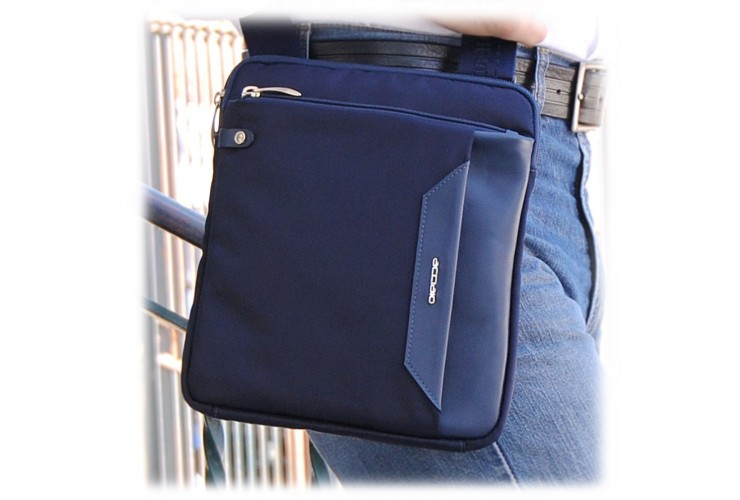 Crossbag Shoulder bag 11'' leather and nylon Blue