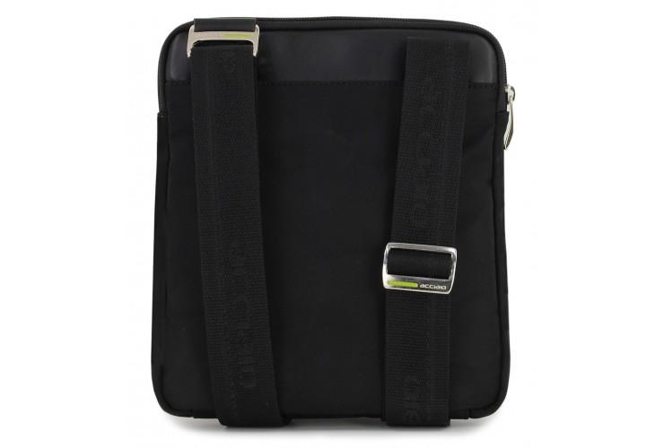 Crossbag Shoulder bag 11'' leather and nylon Black/Taupe