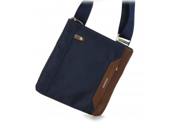 Shoulder bag 9'' nylon-leather Blue/Brown