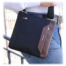 Shoulder bag 9'' nylon-leather Black/Brown