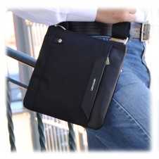 Shoulder bag 9'' nylon-leather Black