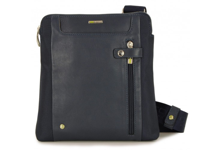 Crossbody Men's Shoulder bag 10'' leather/nylon Blue