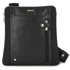 Crossbody Men's Shoulder bag 10'' leather/nylon Black