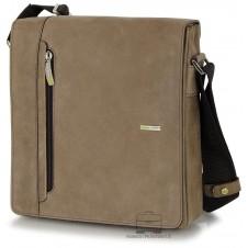Men's shoulder bag wide in leather Vintage effect Brown/Bark 10''