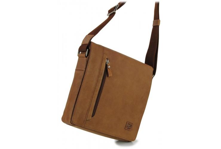 Men's shoulder bag wide in leather Vintage effect Brown/cognac 10''