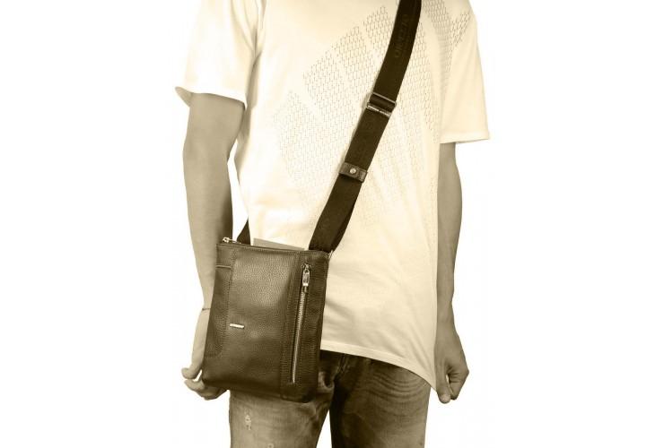 Borsello uomo tracollina pelle Grigio/Taupe 23cm