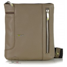 Shoulder bag man in leather Taupe/Gray 23cm