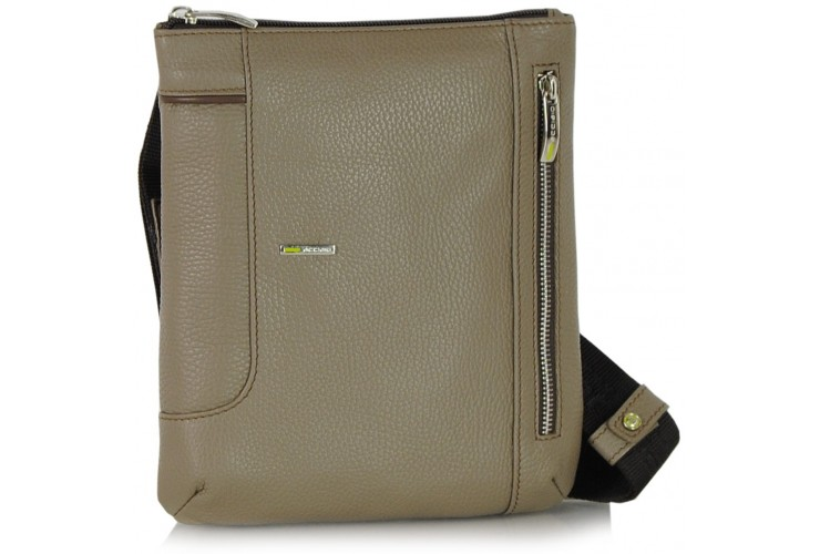 Shoulder bag for man in leather Gray/Taupe 25.5cm