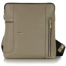 Shoulder bag for man in leather Gray/Taupe 26cm