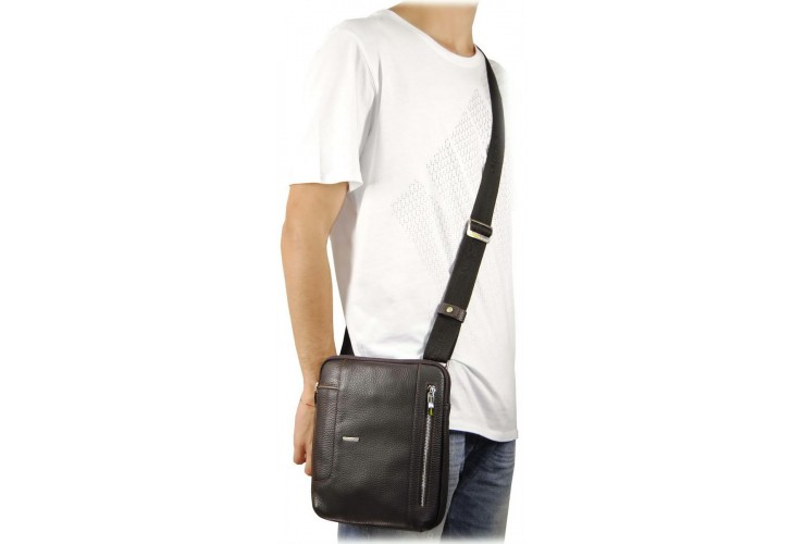 Men's shoulder bag in leather Gray/Taupe 25.5cm