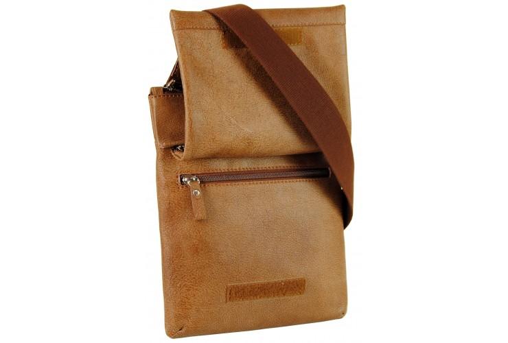 Borsello a tracolla in pelle vintage con doppio vano 9'' dedicato ipad/tab Marrone/Corteccia