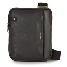 Kleine Herren-Umhängetasche mit iPad®Mini-Tasche aus Braun