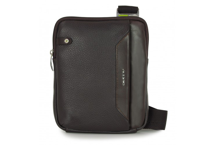 Men's shoulder bag small with iPad®Mini pocket in Brown