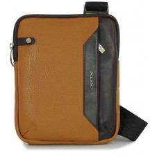 Men's shoulder bag small with iPad®Mini pocket in Cognac/Brown