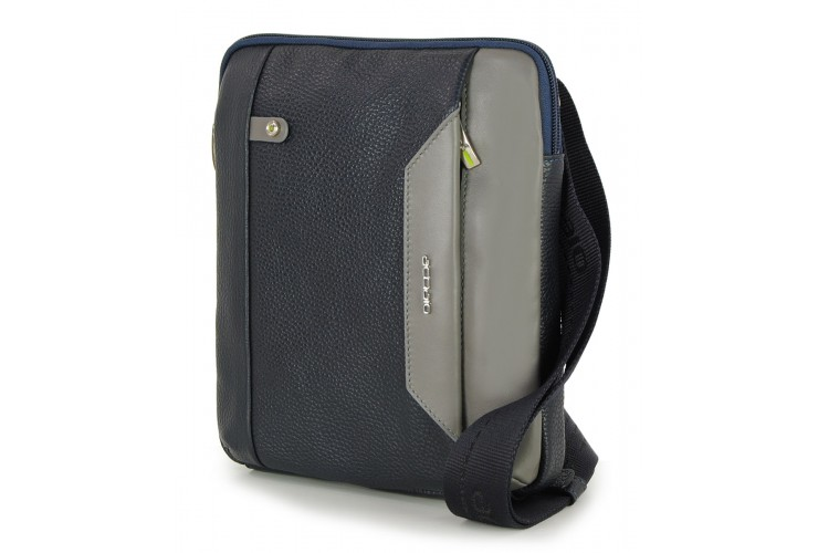 Men's shoulder bag small with iPad®Mini pocket in Blue
