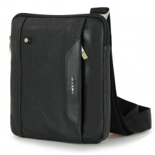 Men's shoulder bag small with iPad®Mini pocket in Black
