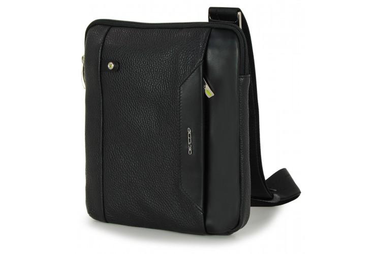 Kleine Herren-Umhängetasche mit iPad®Mini-Tasche aus Schwarz