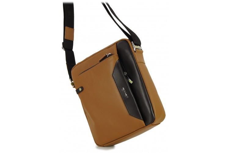 Crossbag Shoulder bag with wide hips 11'' Cognac/Brown