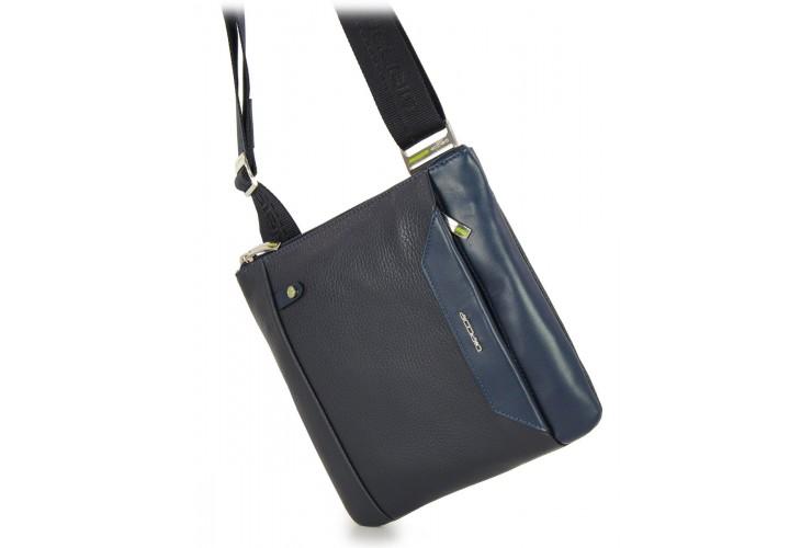 Herren umhängetasche mit iPad®Mini-Tasche aus Blau