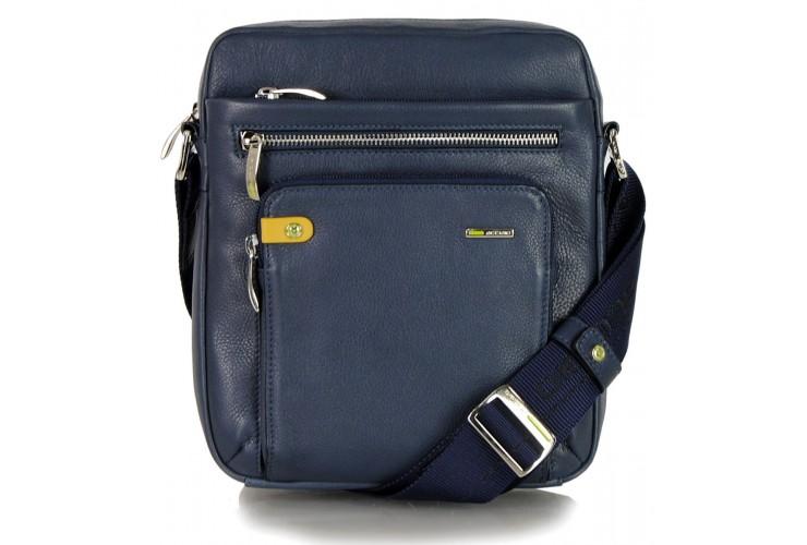 Leather shoulder bag soft with wide gusset for tablet 9.7'' Blue