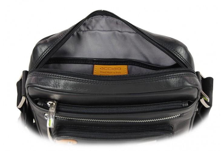 Leather shoulder bag soft with wide gusset for tablet 9.7'' Brown
