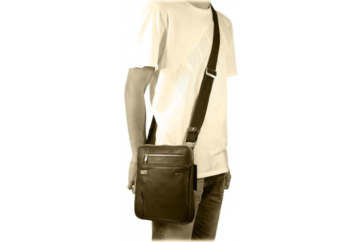 Man's shoulder bag soft leather Black 11""