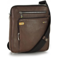 Man's shoulder bag soft leather Brown/Chocolate 11""