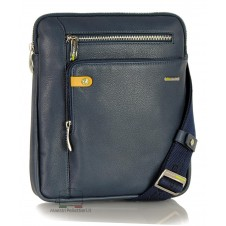 Man's shoulder bag soft leather Blue 11""