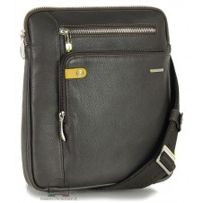 Man's shoulder bag soft leather Brown 11""