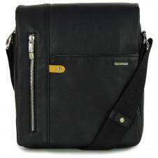 Borsello uomo in pelle con fianco largo, patta e tasca iPad 10'' Nero