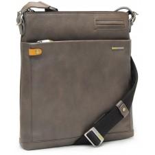 Men's shoulder bag in leather iPad 10'' bag Grey/Taupe