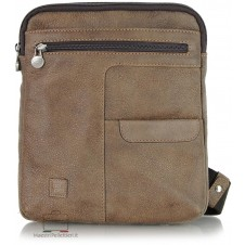 Shoulder bag  in leather vintage effect with 2 zip for iPad/Tablets up to 11'' Brown/Bark