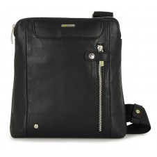Shoulder bag man in leather Black 9.7''