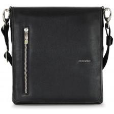 """Borsello in pelle con patta porta iPad Pro 11"""" pelle saffiano Nero"""