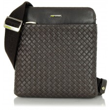 Crossbag leather shoulder bag braided leather Versus Brown tablet pocket 8''