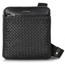 Umhängetasche Schultertasche aus Leder geflochtene Versus tablet-fach 8'' Schwarz